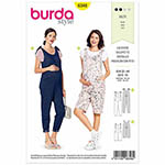 Loose-fitting bibbed overalls/jumpsuit with plenty of room for your tummy - super comfy and versatile to mix and match. The straps can either be tied or buttoned. Elastic gathers the back waist. Suggested Fabrics: Jersey