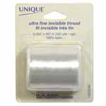 This 100% nylon, ultra fine and soft invisible thread is excellent for machine quilting and blind applique. Blends with all fabrics concealing imperfections. Use this clear thread with light coloured fabrics for best results. 0.004″ x 457m (500 yds).