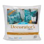 Decorator's Choice Pillow Inserts have a cotton/poly blend cover, filled with a special 100% microdenier polyester gel fiber. The result is an exceptionally plush textured pillow with a high-end designer look. Soft, luxurious pillow for lounging comfort. Spot cleaning recommended. Made in the USA and unconditionally guaranteed.