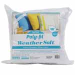 Soft, comfortable Weather Soft<sup>TM</sup> pillow inserts have a water repellent shell that keeps the inner 100% polyester fiberfill from becoming saturated in wet weather. With Weather Soft<sup>TM</sup> you have the freedom to decorate your outdoor space using any fabric style you prefer, including marine and outdoor fabrics. Laminated shell protects fiberfill from moisture. Durable comfort for patio and deck furnishings, boating, camping and RV accessories. Cover with outdoor or marine fabrics for lasting beauty. Unconditionally guaranteed. Care: Protect the pillow from severe wet weather for best results and prolonged lifespan. Submersing pillow or prolonged exposure to heavy rain will result in varying levels of moisture absorption. Spot cleaning recommended.