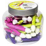 60 seam rippers per assortment. Seam rippers with sharp blades, safety ball and lid. Specially formulated plastic material grabs and removes excess threads without marking or sticking to the fabric. Innovative thread removers on each end. 3 colours: magenta, lime and purple.