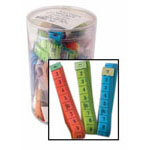 Tub includes 40 pieces of 150cm (60″) tape measures in 3 assorted colours. Includes both metric and imperial.