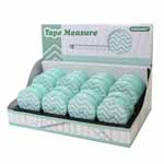 20 piece display of 150cm (60″) tape measures featuring mint & white chevron patterns and made of high quality fiberglass with a silky smooth retractable function. Imperial on one side, metric on the other side.  Presented in a sturdy cardboard display measuring 23.5 x 15.2 x 15.9cm (9<sup>1</sup>⁄<sub>4</sub>″ x 6″ x 6<sup>1</sup>⁄<sub>4</sub>″) with molded plastic inner tray.