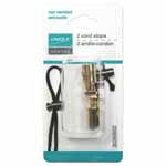 Press top of cord stop, thread cord into hole, release top to secure cord. Use for coats, bags, drawstring waistlines.