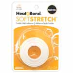 HeatnBond Soft Stretch<sup>TM</sup> Ultra is a no-sew, permanent, lightweight iron-on web adhesive specially designed to move with your stretch fabric while maintaining a strong bond with no sewing needed! There is no added bulk and maintains a soft hand after fusing. Great to use with appliques, knits, stretch denim, spandex, jersey fabrics, fleece and flannel. Machine wash cold delicate cycle and tumble dry on low heat or no heat. Dry Cleanable. Avoid repeated or excessive ironing to the area after fusing. 16mm x 9.1m (<sup>5</sup>⁄<sub>8</sub>″ x 10yd) tape.
