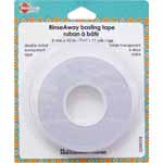 Double-sided transparent tape that disappears after washing. Will not gum up your needle when sewn through. This multi-purpose tape can be used for basting, binding and hemming, stabilizing stetch and slippery fabrics, matching plaids and holding trims and appliques in place while stitching.