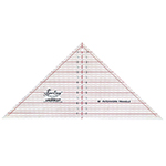 The perfect ruler for cutting outside triangles for blocks up to 10″. Essential for designs where the blocks are set on-point. Use also to cut 90°, quarter square triangles, from strips and save fabric. Easy to use and very accurate. Laser cut for an accurate and smooth finish. White frosted backing. Red grid with black writing.