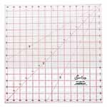 This large square ruler is invaluable for appliqué and piecing. Perfect for cutting large background squares and blocks. The clear easy to read lines are ideal for squaring blocks, quilt tops and borders. A necessity for cutting large triangles and 45° diamonds. Popular for home décor projects. Laser cut for an accurate and smooth finish. White frosted backing. Red grid with black writing.