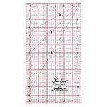 A necessary ruler for every quilter. Popular for cutting strips, squares, rectangles and triangles. A very manageable size for cutting template free shapes. Perfect for cutting halfsquare and quarter-square triangles. Ideal for cutting 45° diamonds and parallelograms. Use the 60° lines for cutting 60° and 30° diamonds. Laser cut for an accurate and smooth finish. White frosted backing. Red grid with black writing.