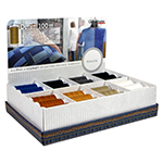 Includes 48 spools of 100m Denim thread; 6 spools of each of eight colours. Includes a cardboard countertop displayer. 100% polyester