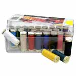 26 popular shades of Sew-All 100m thread in a reusable clear acrylic storage box.