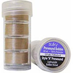 Offering convenience and quality, these 60 wt, continuous filament, polyester, plastic-sided bobbins are virtually lint free and are the perfect weight for most sewing, quilting, or embroidery projects. Prewound ″A″ style 120m bobbins. 5 bobbins in a clear plastic tube.