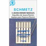 Used for denim and similar fabrics. Advanced point design is a SCHMETZ exclusive. Good for penetrating extra thick woven fabrics, denims, or quilts with minimum needle deflection, reduced risk of needle breakage, and skipped stiches.