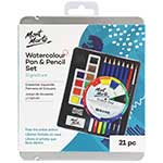 This watercolour set includes 6 watercolour pencils, 10 watercolour pans, HB graphite pencil, paint brush, sharpener, eraser and colour dial.