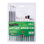 This 15 piece brush set features easy-grip, shorter length handles which makes it a great starter set for kids. Includes a combination of both synthetic and natural bristles in a wide range of sizes as well as both flat tips for shading and large areas, and round tips for fine and controlled detail work. For use with acrylic, oil, watercolour and poster paints.