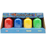 Mont Marte's Poster Paint is a tempera styled paint and is ideal for school students and art groups. With vibrant colour and a matte finish this fabulous paint is quick to dry. Poster paint is easy to blend and offers great opacity. Non-toxic and washable. Easy to use with a clever flip top lid. Set includes 4 x Bright 250ml Paints - Red, Blue, Yellow and Green.