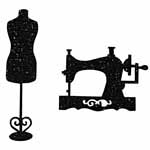 Sewing machine and dress form motif. Elan iron-on motifs are an easy creative way to add pizzazz to your garments, breathe new life into old garments or a fun repair solution to patch up rips and tears on children's clothes.